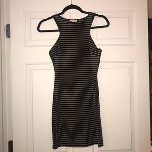 Dresses - Boutique Black and Beige Striped Bodycon Dress